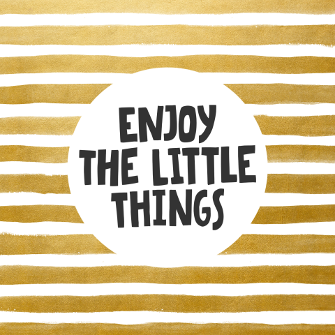 Enjoy the little things - wenskaart gouden waterverf strepen