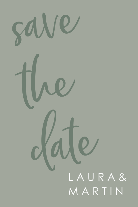 minimalistische save the date met kalligrafie