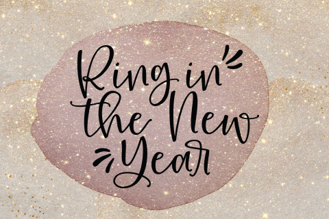 Ring in the new year nieuwjaarskaart glitter