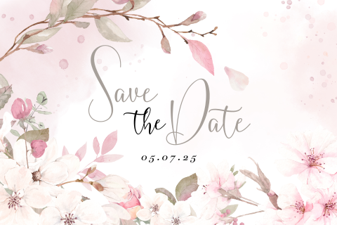 save the date bloemen roze wit waterverf