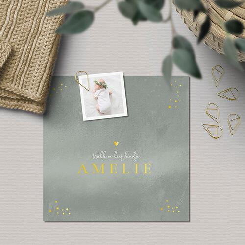 geboortekaartje met diy fotolabel en paperclip