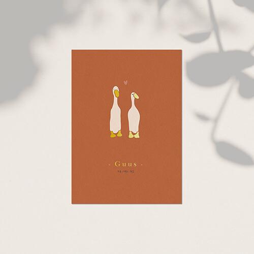 lief geboortekaartje met eenden en goudfolie